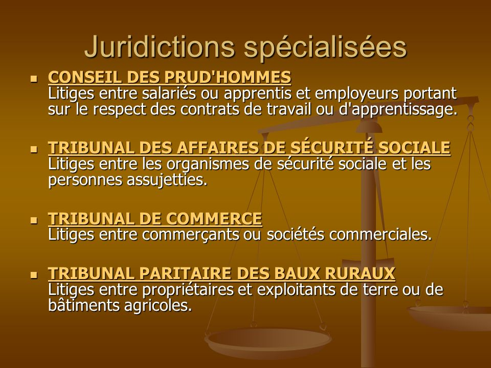 Juridictions spécialisées