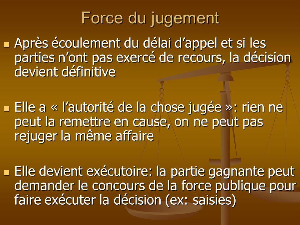 Force du jugement Après écoulement du délai d'appel et si les parties n'ont pas exercé de recours, la décision devient définitive.