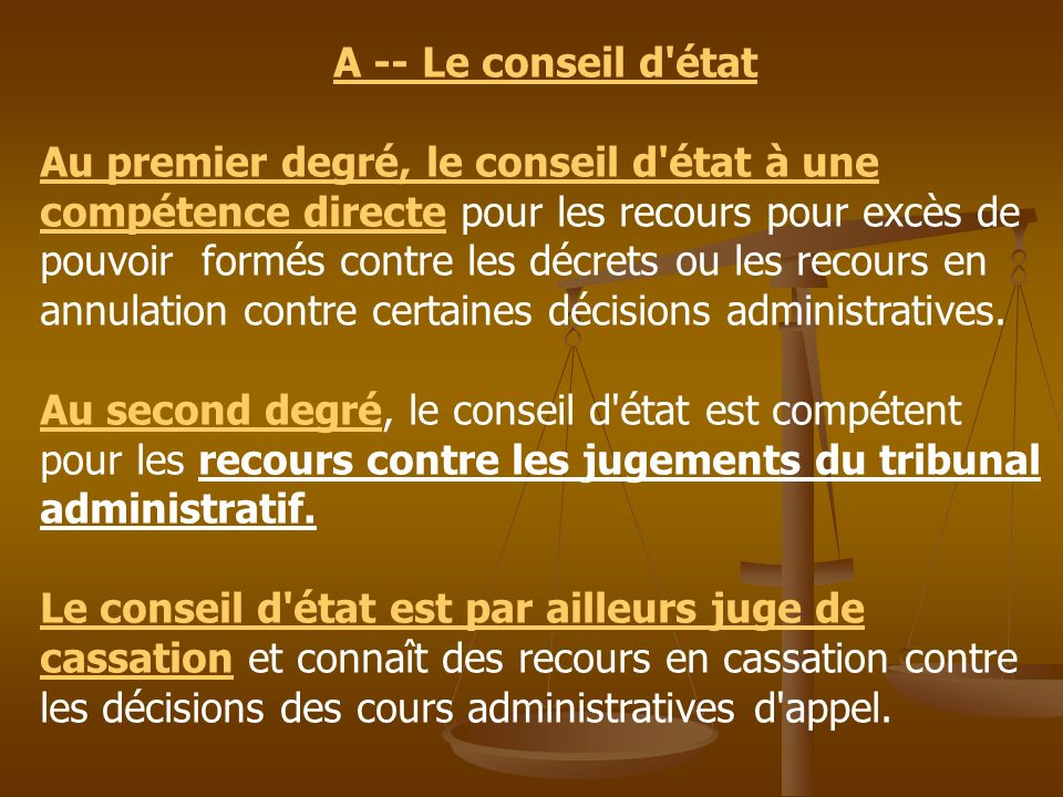 A -- Le conseil d état