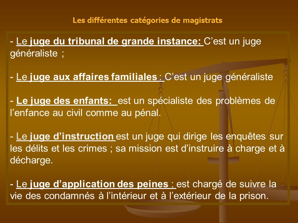 Les différentes catégories de magistrats