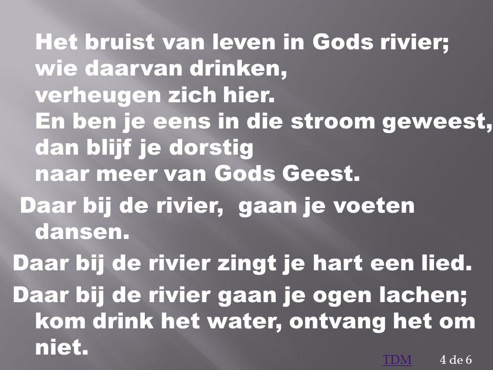 Het bruist van leven in Gods rivier; wie daarvan drinken, verheugen zich hier. En ben je eens in die stroom geweest, dan blijf je dorstig naar meer van Gods Geest. Daar bij de rivier, gaan je voeten dansen. Daar bij de rivier zingt je hart een lied. Daar bij de rivier gaan je ogen lachen; kom drink het water, ontvang het om niet.