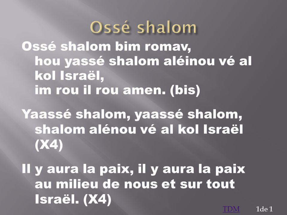 Ossé shalom Ossé shalom bim romav, hou yassé shalom aléinou vé al kol Israël, im rou il rou amen. (bis)