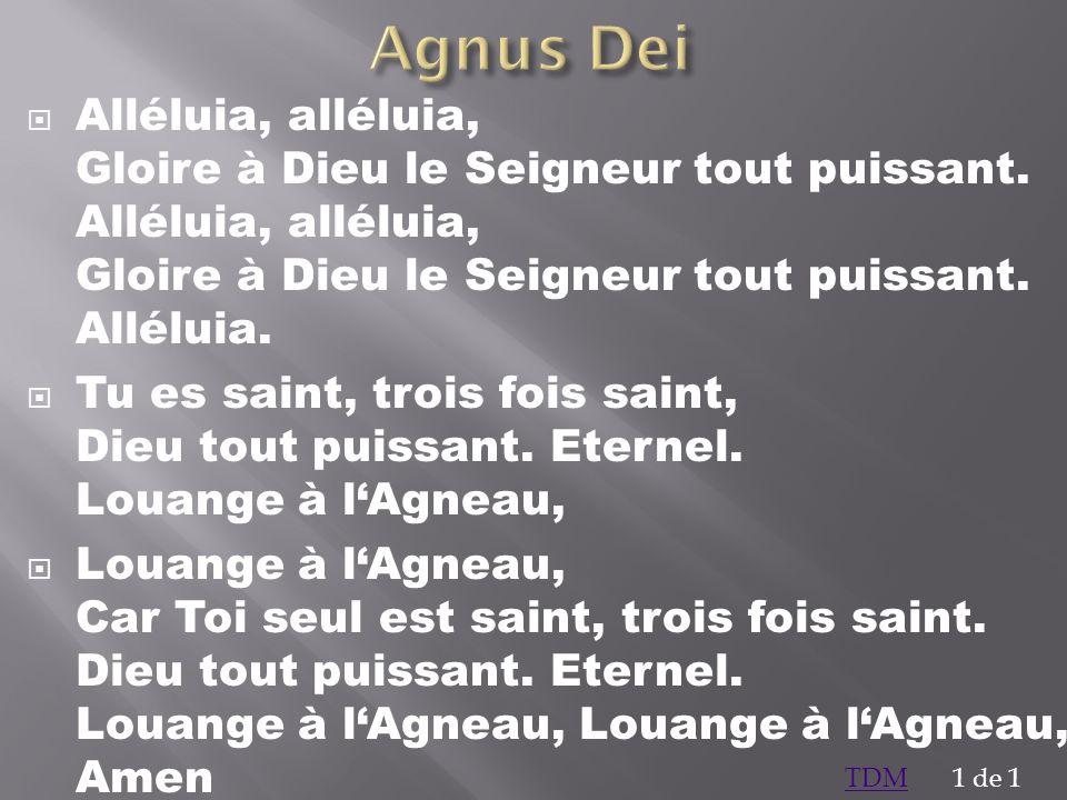Agnus Dei Alléluia, alléluia, Gloire à Dieu le Seigneur tout puissant. Alléluia, alléluia, Gloire à Dieu le Seigneur tout puissant. Alléluia.