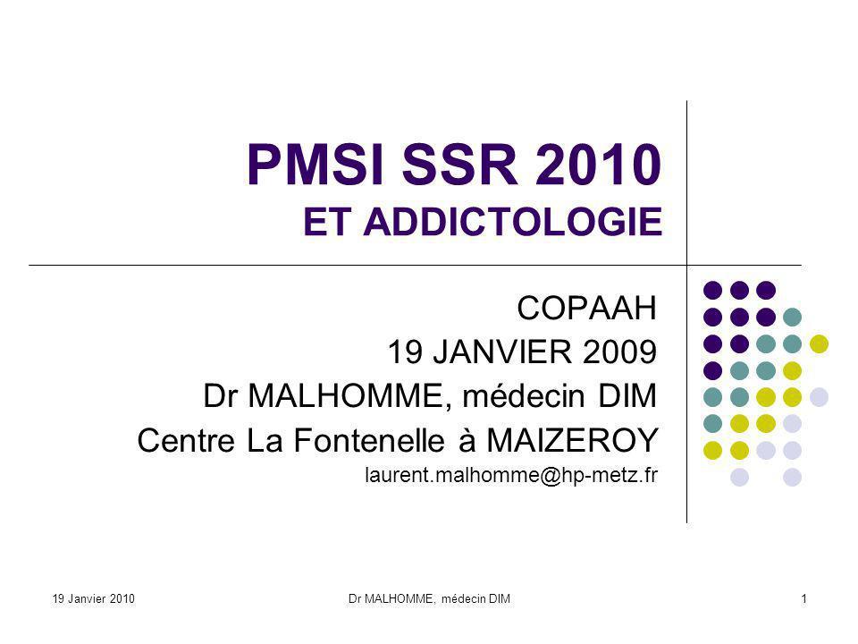 PMSI SSR 2010 ET ADDICTOLOGIE