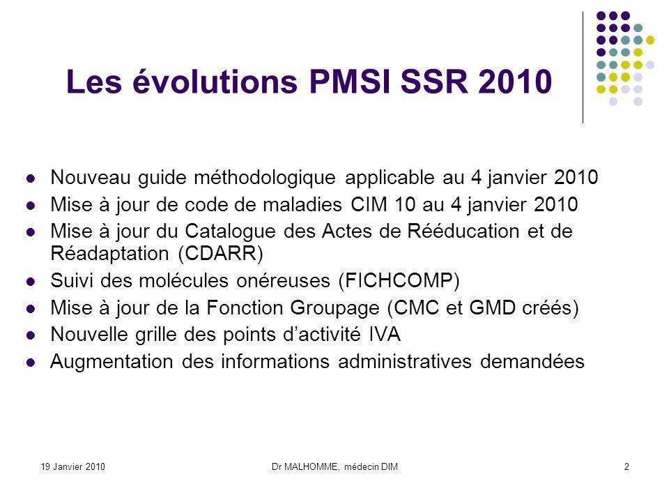 Les évolutions PMSI SSR 2010
