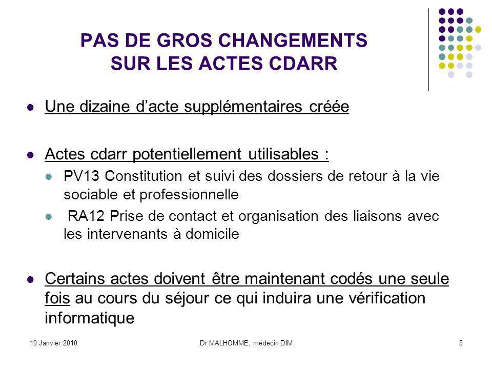 PAS DE GROS CHANGEMENTS SUR LES ACTES CDARR