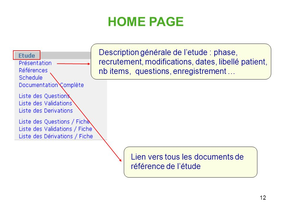 HOME PAGE Description générale de l'etude : phase, recrutement, modifications, dates, libellé patient, nb items, questions, enregistrement …
