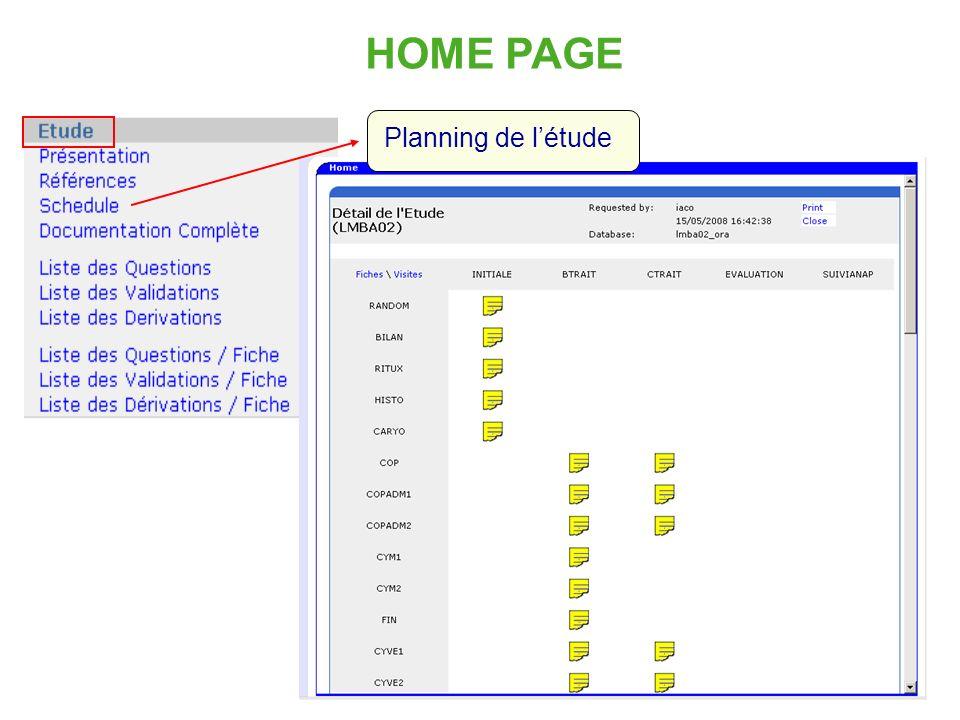 HOME PAGE Planning de l'étude