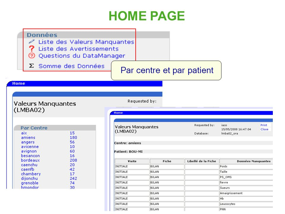 HOME PAGE Par centre et par patient