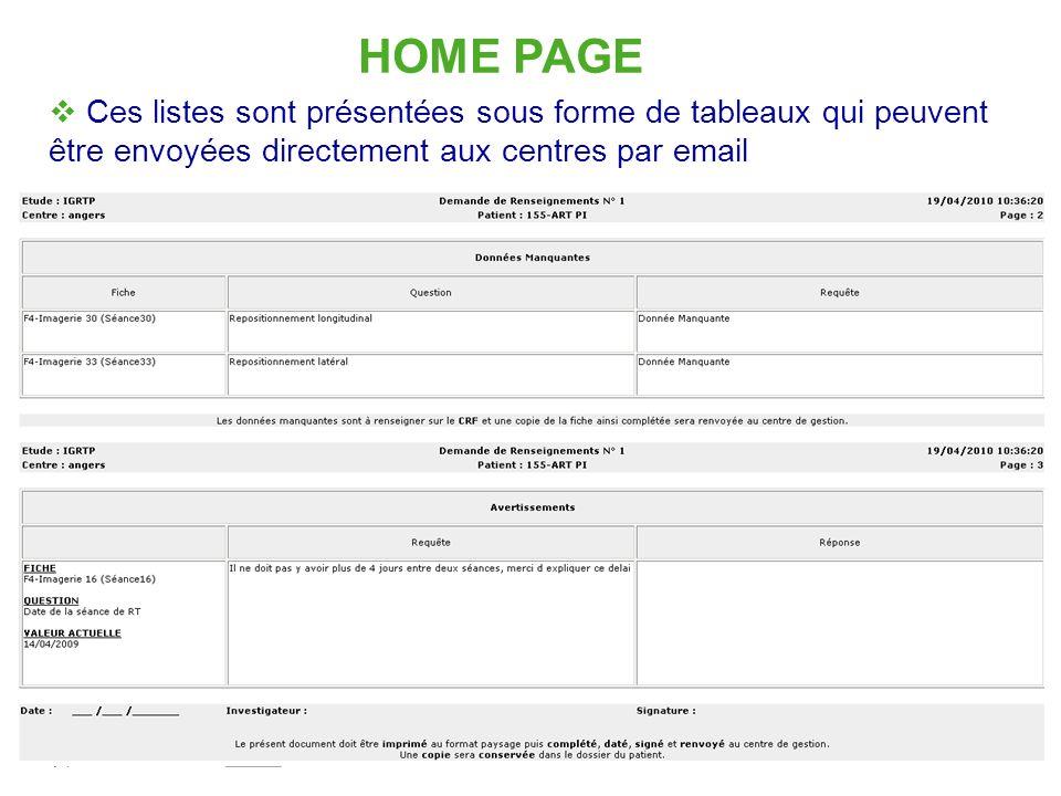 HOME PAGE Ces listes sont présentées sous forme de tableaux qui peuvent être envoyées directement aux centres par email.