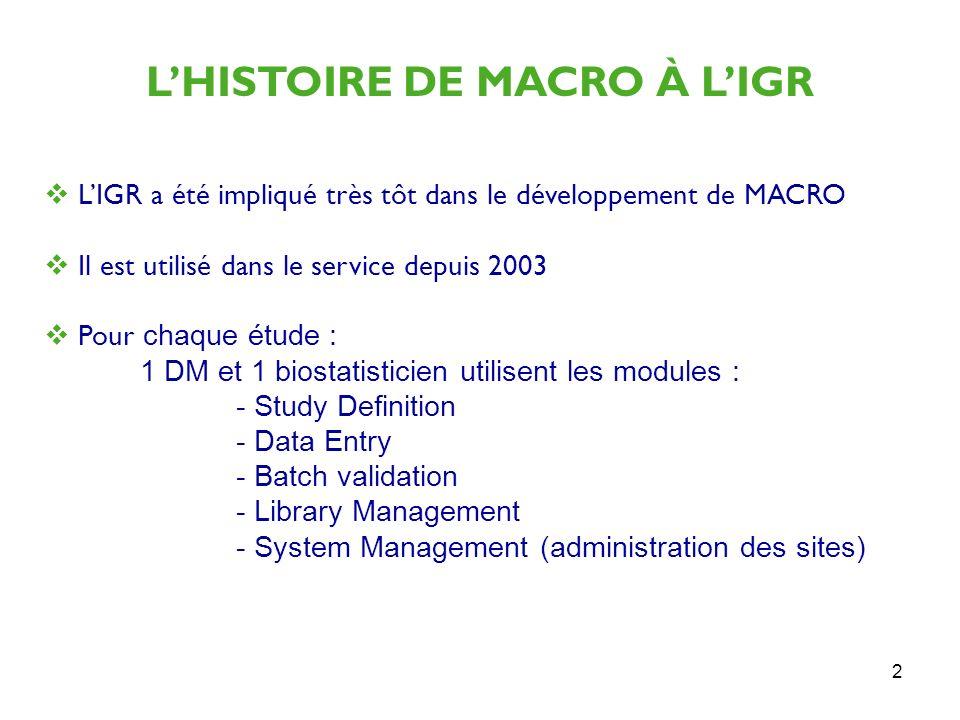 L'HISTOIRE DE MACRO À L'IGR