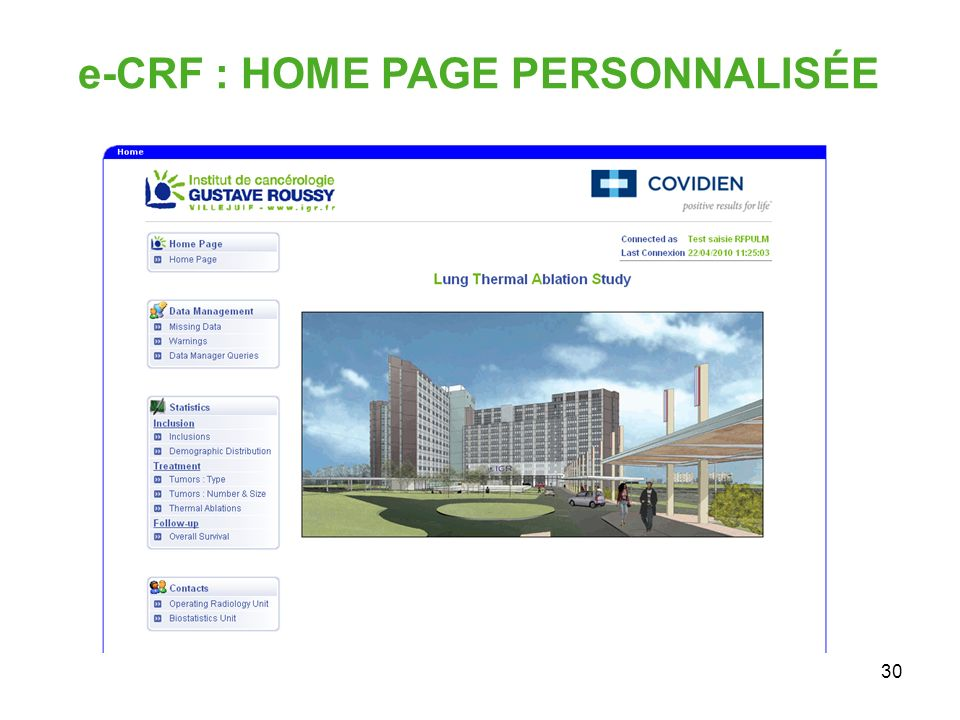 e-CRF : HOME PAGE PERSONNALISÉE