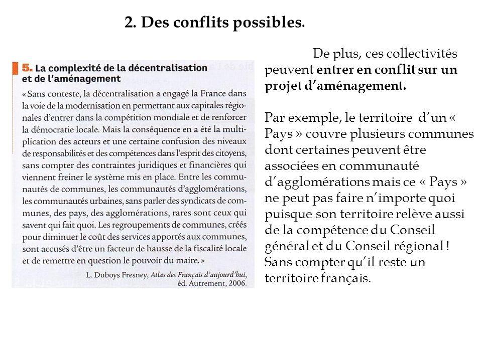 2. Des conflits possibles.