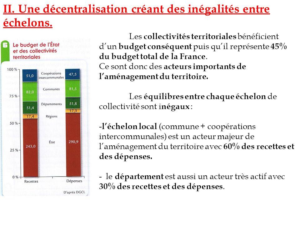II. Une décentralisation créant des inégalités entre échelons.