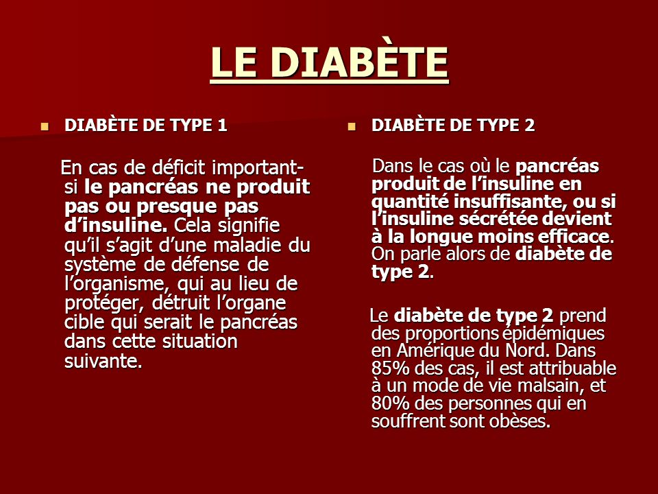 LE DIABÈTE DIABÈTE DE TYPE 1.