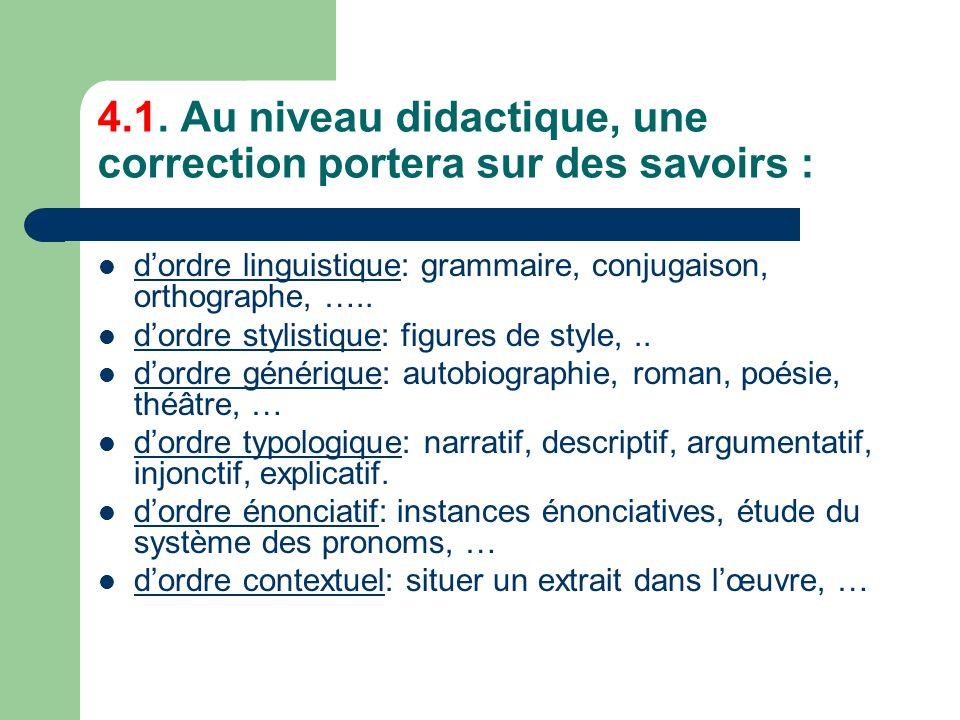 4.1. Au niveau didactique, une correction portera sur des savoirs :