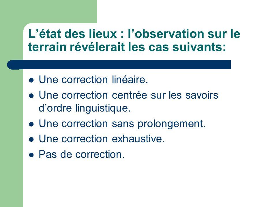 L'état des lieux : l'observation sur le terrain révélerait les cas suivants: