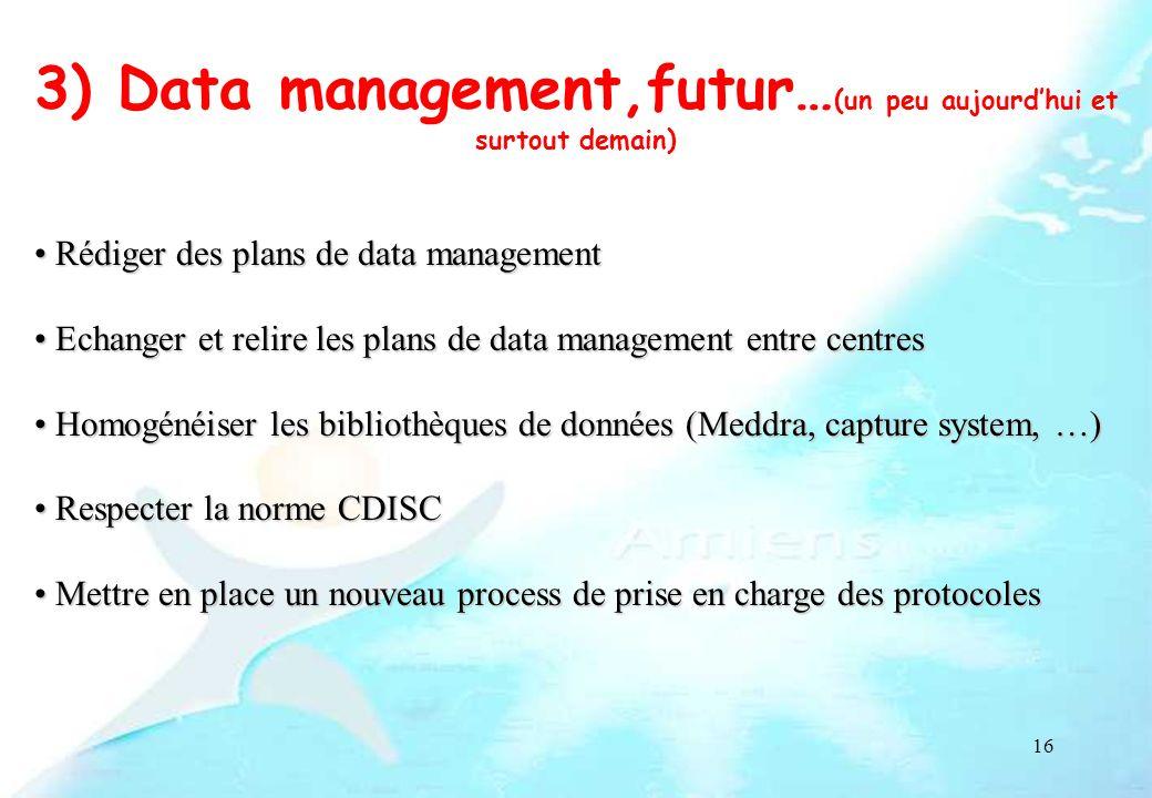 3) Data management,futur…(un peu aujourd'hui et surtout demain)