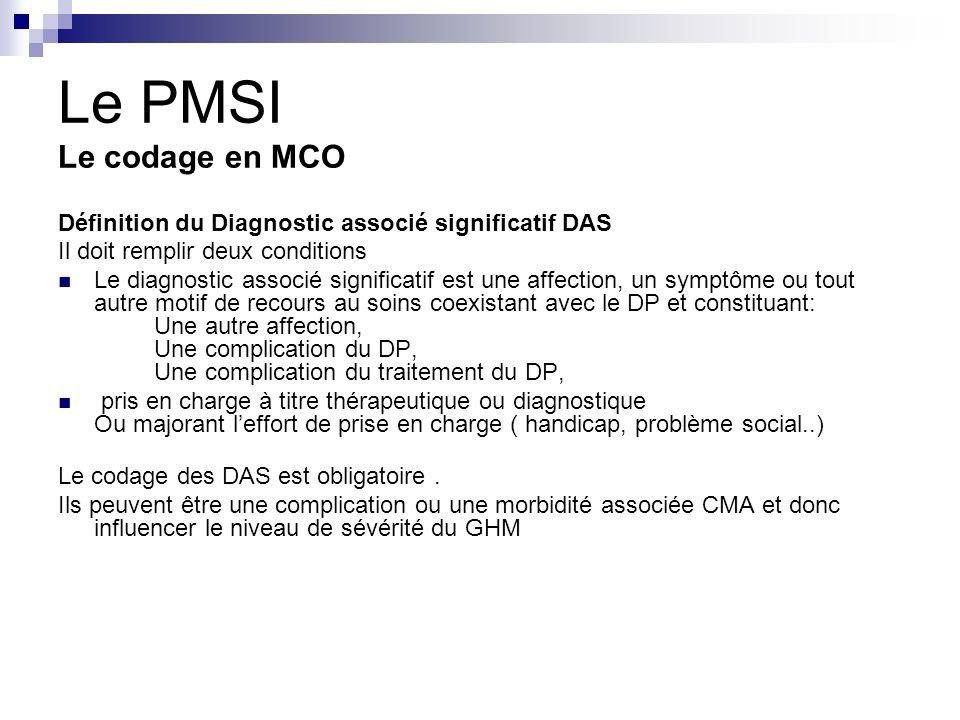 Le PMSI Le codage en MCO Définition du Diagnostic associé significatif DAS. Il doit remplir deux conditions.