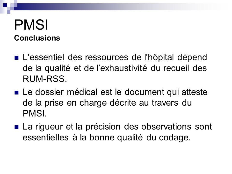 PMSI Conclusions L'essentiel des ressources de l'hôpital dépend de la qualité et de l'exhaustivité du recueil des RUM-RSS.
