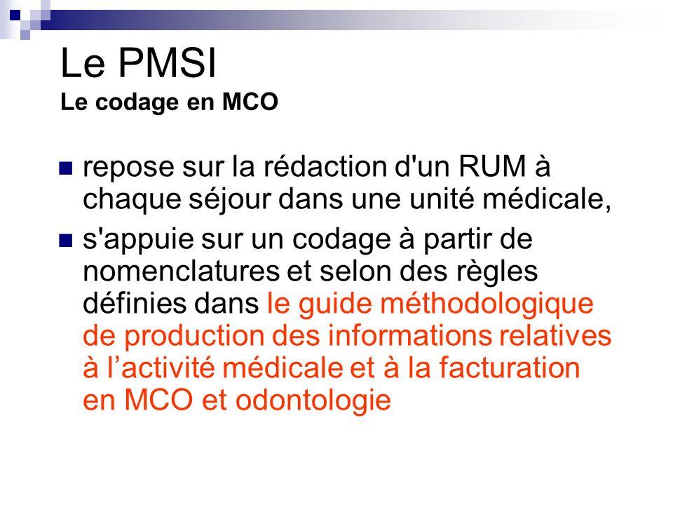Le PMSI Le codage en MCO repose sur la rédaction d un RUM à chaque séjour dans une unité médicale,