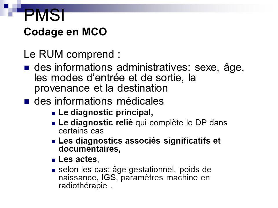 PMSI Codage en MCO Le RUM comprend :