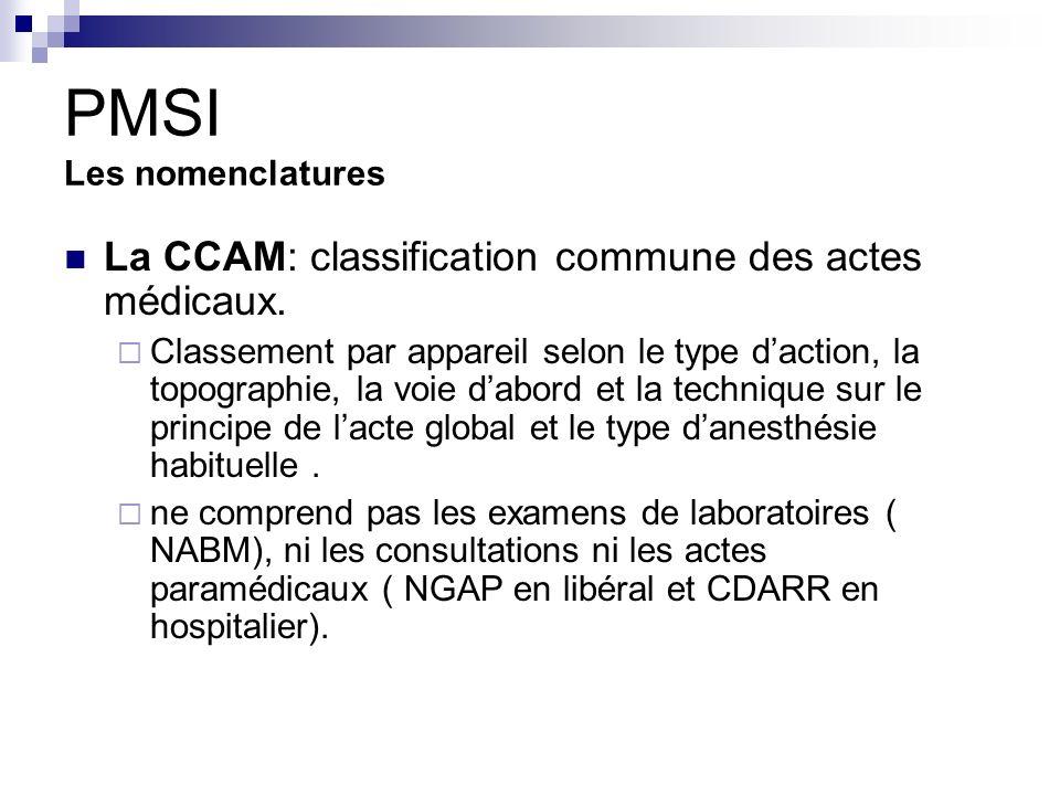 PMSI Les nomenclatures