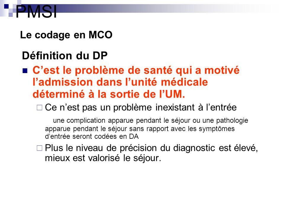 PMSI Le codage en MCO Définition du DP