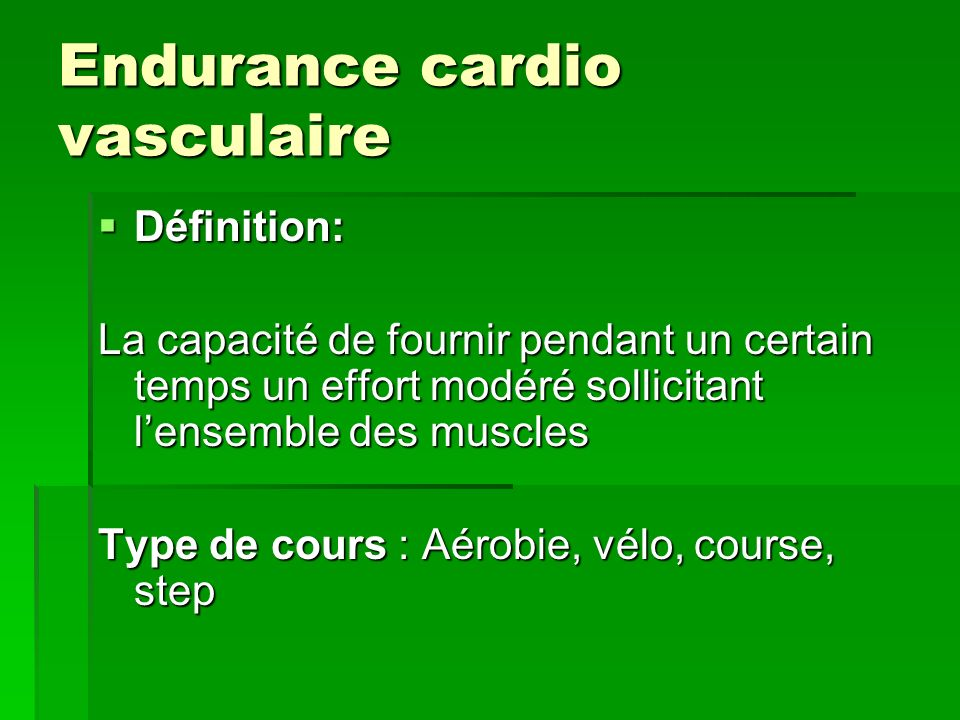 Endurance cardio vasculaire