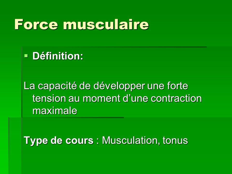 Force musculaire Définition: