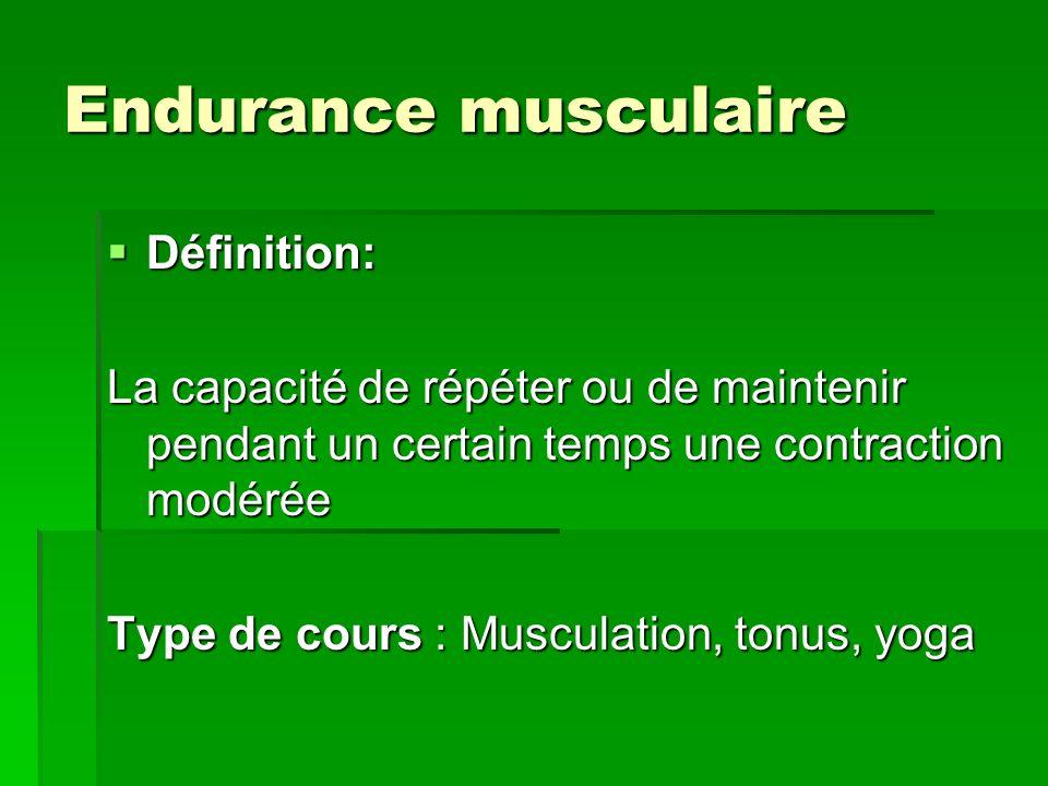 Endurance musculaire Définition: