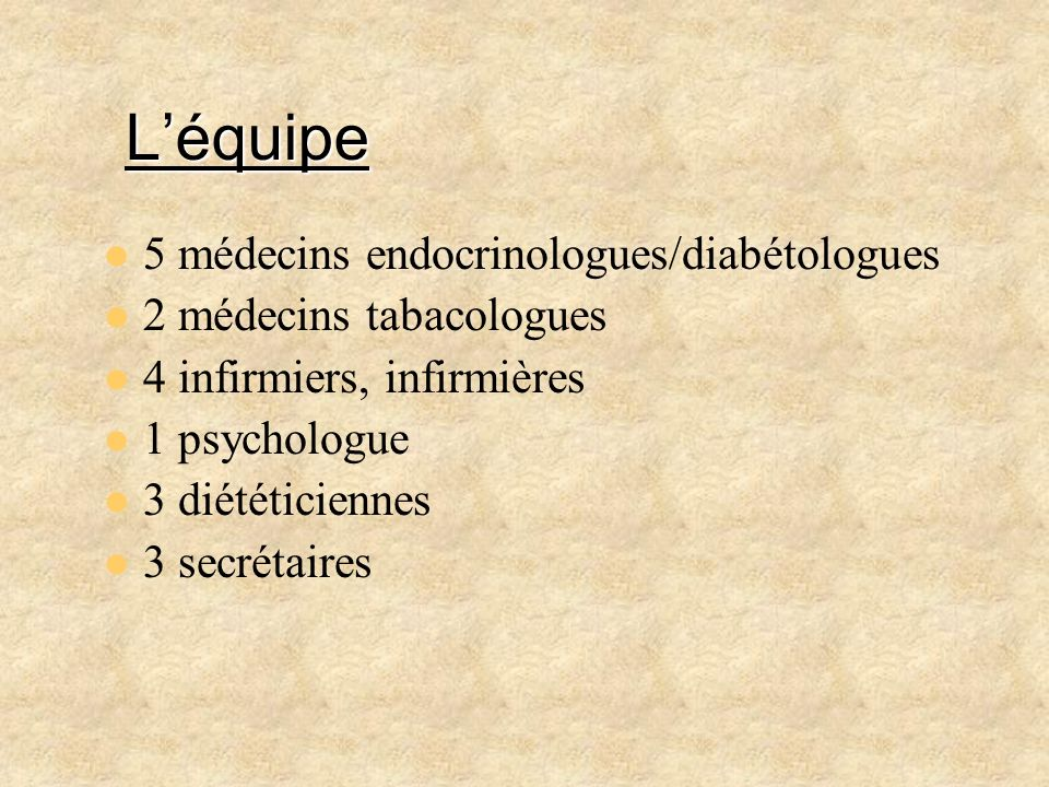 L'équipe 5 médecins endocrinologues/diabétologues