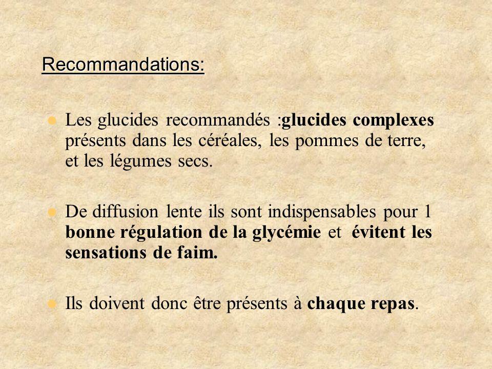 Recommandations:Les glucides recommandés :glucides complexes présents dans les céréales, les pommes de terre, et les légumes secs.
