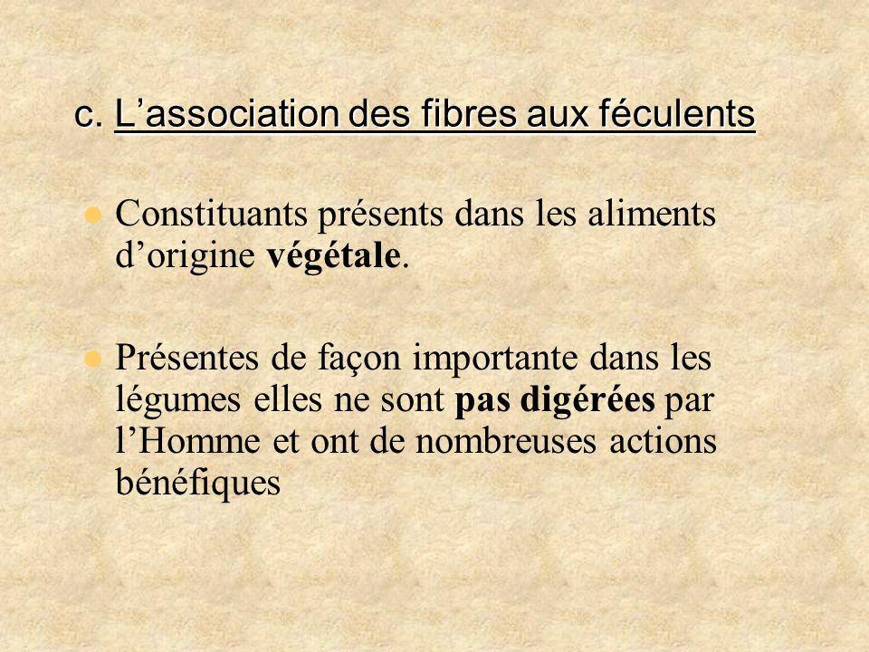 c. L'association des fibres aux féculents