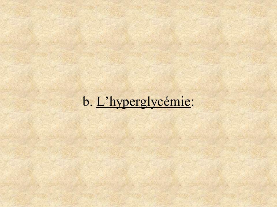 b. L'hyperglycémie: