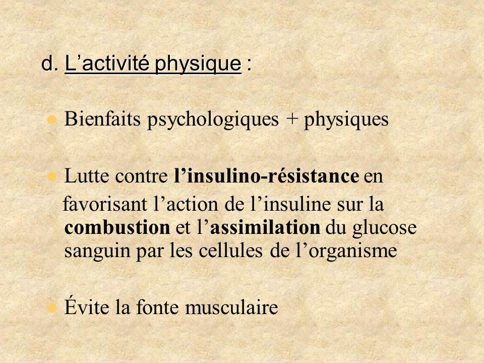d. L'activité physique :