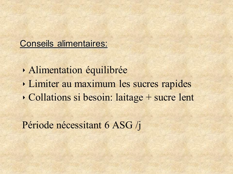 Conseils alimentaires: