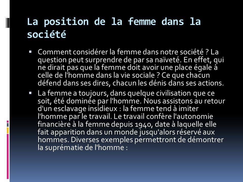 La position de la femme dans la société