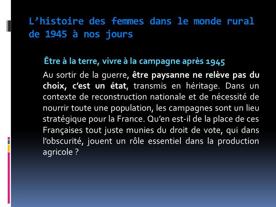 L'histoire des femmes dans le monde rural de 1945 à nos jours