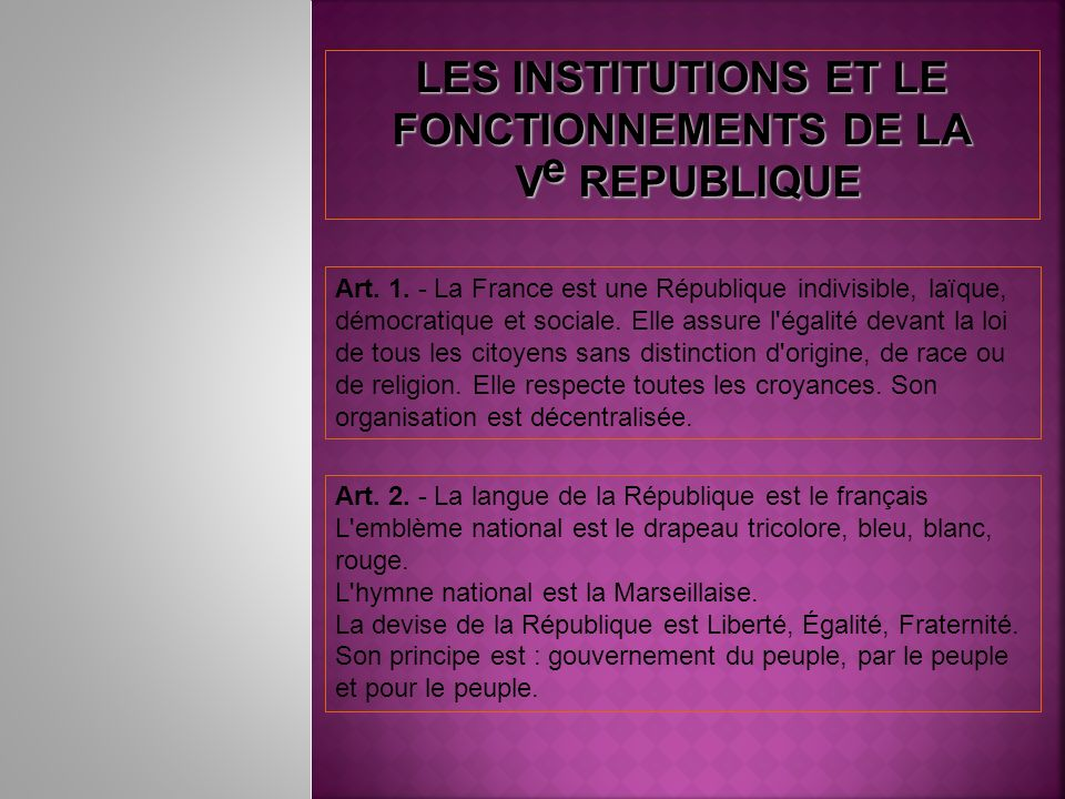 LES INSTITUTIONS ET LE FONCTIONNEMENTS DE LA