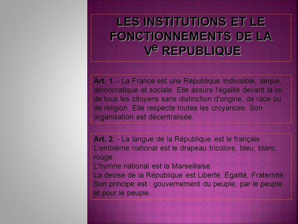 LES INSTITUTIONS ET LE FONCTIONNEMENTS DE LA