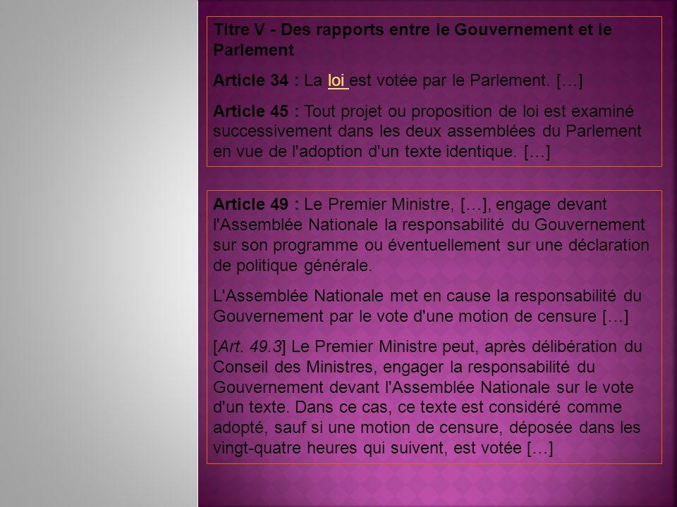 Titre V - Des rapports entre le Gouvernement et le Parlement