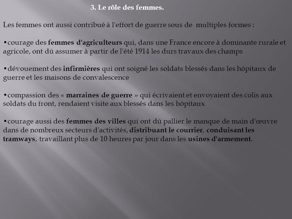 3. Le rôle des femmes. Les femmes ont aussi contribué à l effort de guerre sous de multiples formes :