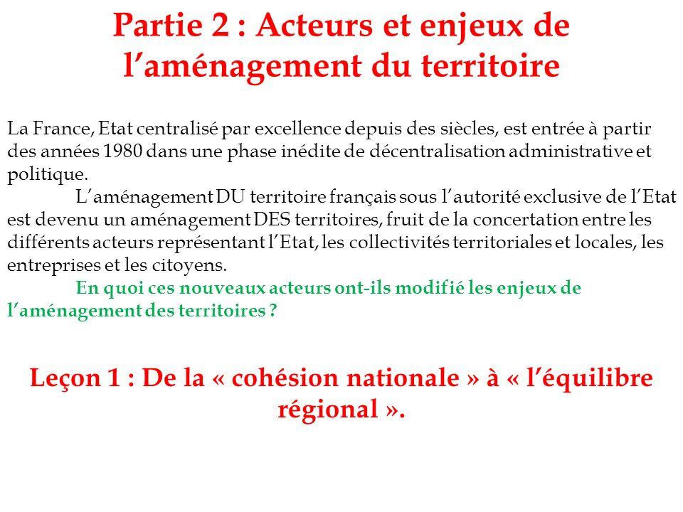 Partie 2 : Acteurs et enjeux de l'aménagement du territoire