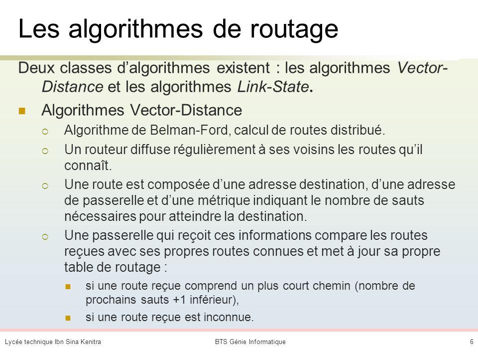 Les algorithmes de routage