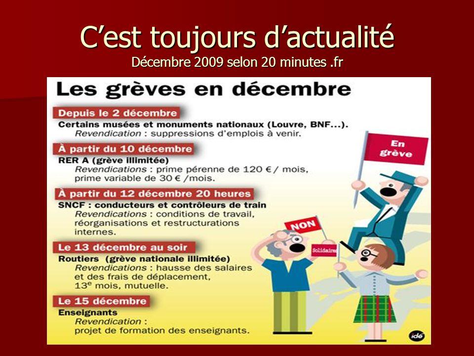 C'est toujours d'actualité Décembre 2009 selon 20 minutes .fr
