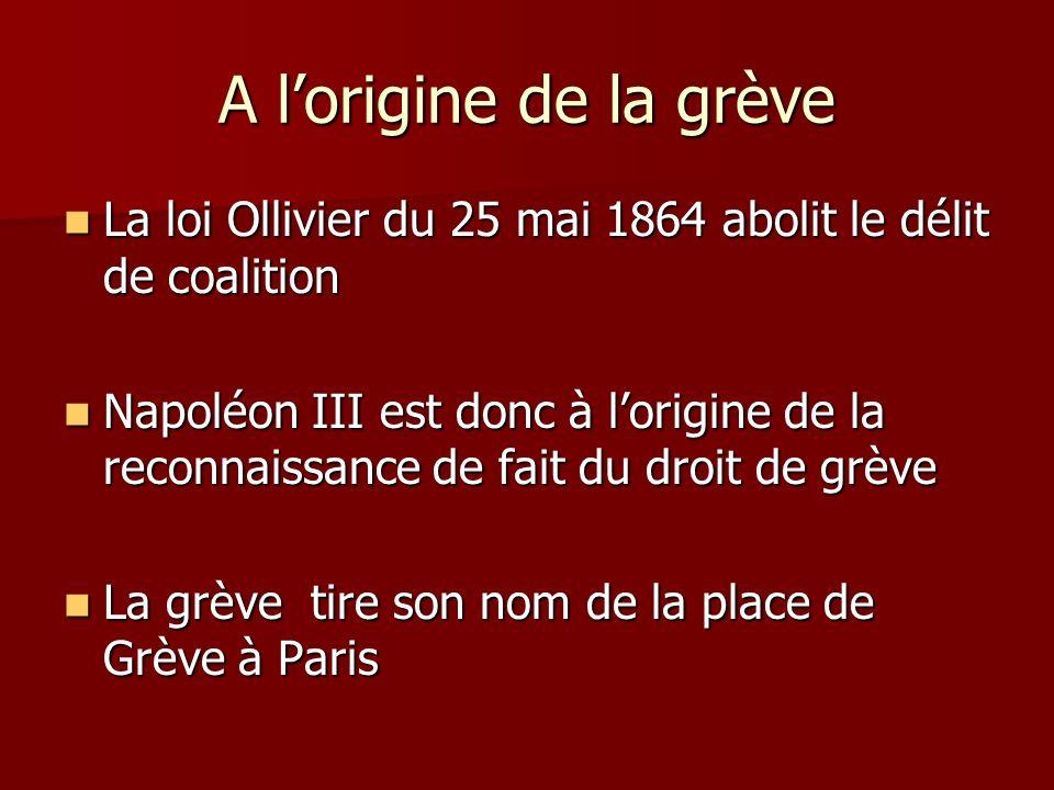 A l'origine de la grève La loi Ollivier du 25 mai 1864 abolit le délit de coalition.