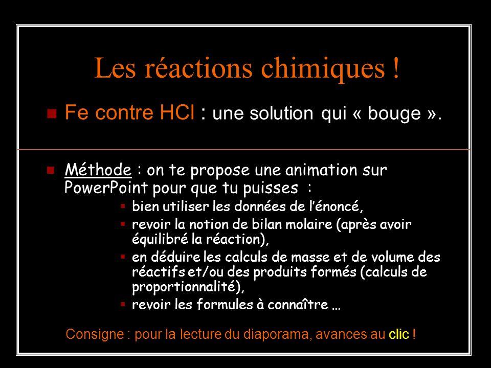 Les réactions chimiques !