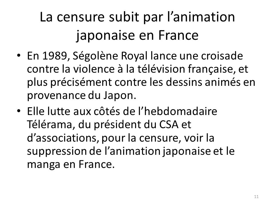 La censure subit par l'animation japonaise en France