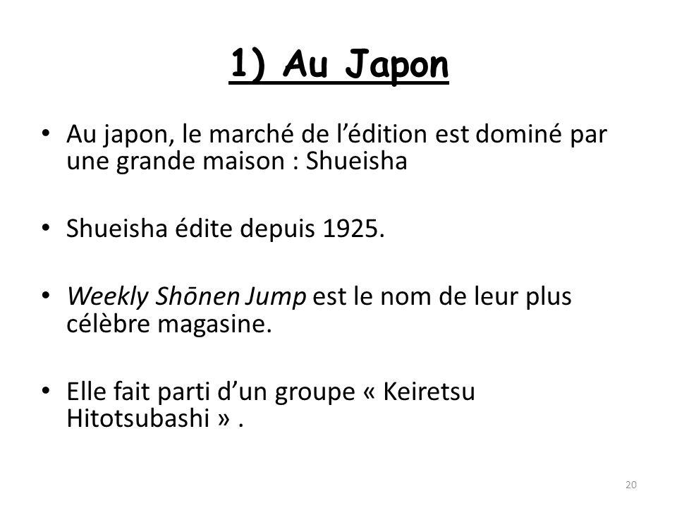 1) Au JaponAu japon, le marché de l'édition est dominé par une grande maison : Shueisha. Shueisha édite depuis 1925.